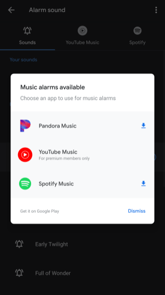 Google Clock, YouTube Music, Spotify, Alarma