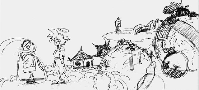 Boceto original de Goku llegando con Kaiōsama