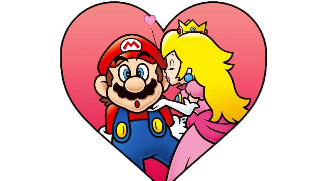 Mario y la princesa Peach en un momento romántico
