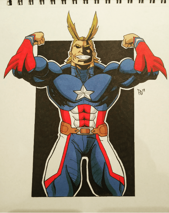 Captain America, All Might, Avengers, My Hero Academy