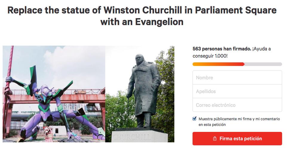 Evangelion, Winston Churchill, Estatua, Inglaterra