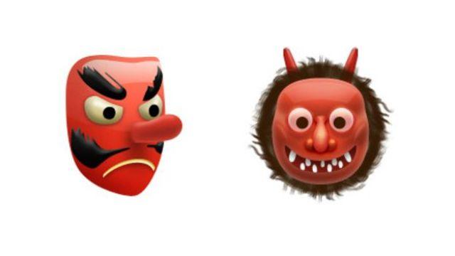 Ogro y duende japoneses de color rojo
