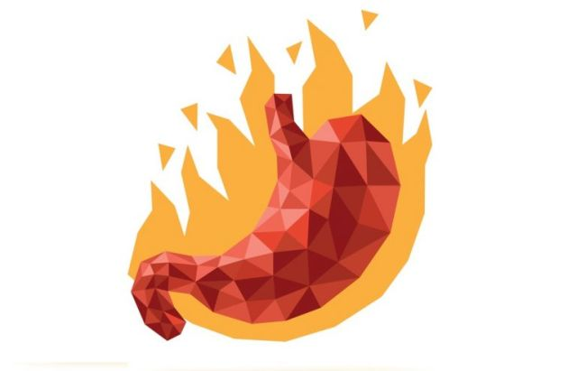 Estómago en llamas que representa la acidez estomacal