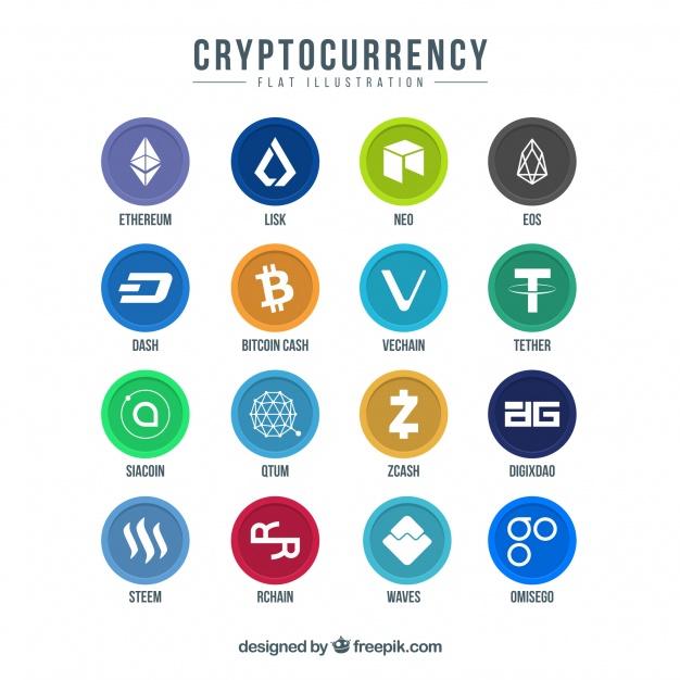 Logos de las diferentes criptomonedas bitcoin ethereum