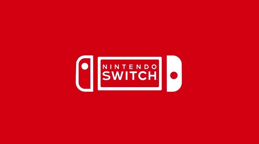 Logo de Nintendo Switch en color blanco con fondo anaranjado