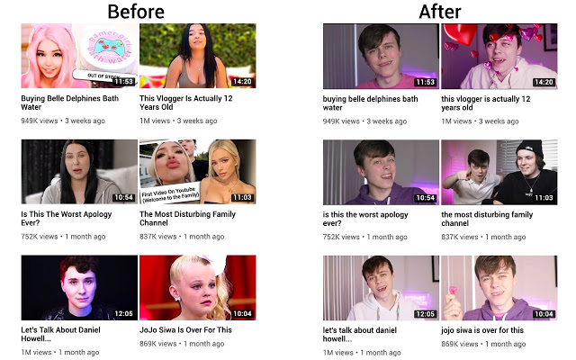 Captura del funcionamiento de clickbait remover for youtube