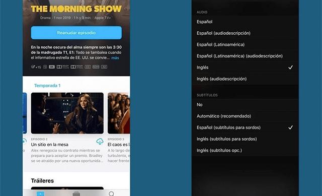 Así se ve la selección de idiomas actualmente en Apple TV
