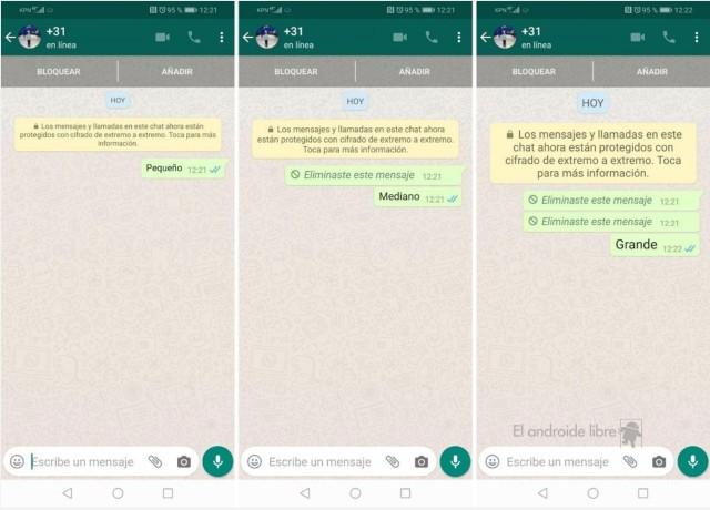 WhatsApp Tamaño letra