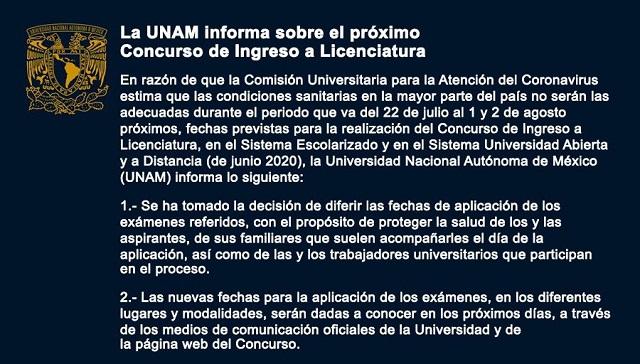 UNAM Fecha Exámenes Admisión Covid-19