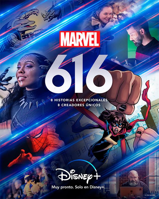 "Póster oficial del documental ""Marvel 616"" (Disney +)"