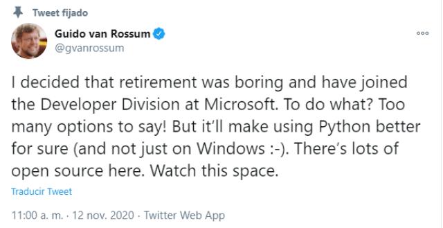 Guido van Rossum formará parte de Microsoft