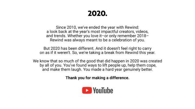 YouTube cancela el Rewind 2020