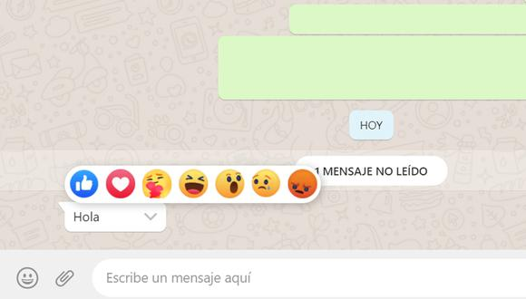 reacciones de facebook en whatsapp