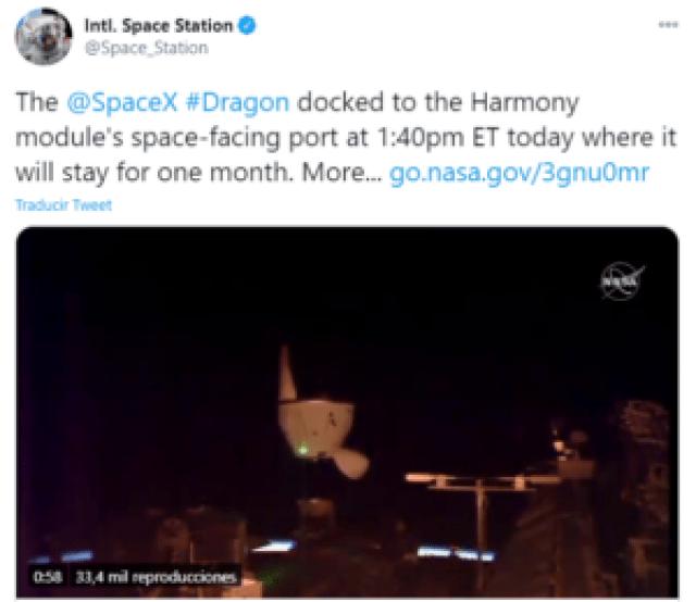 SpaceX coloca su cápsula Dragon en la EEI