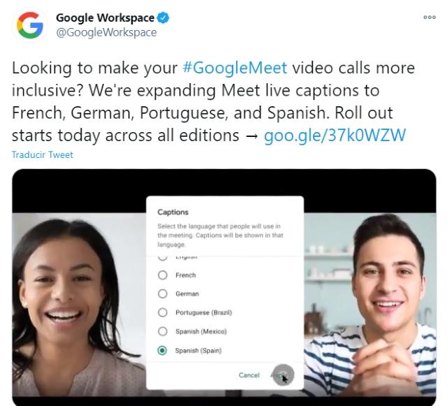Google Meet agrega cuatro idiomas en subtítulos de llamadas