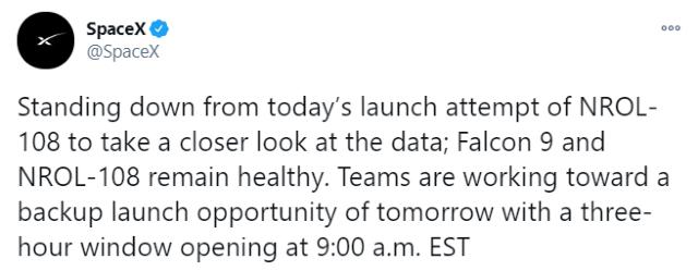 SpaceX retrasa lanzamiento de su satélite espía