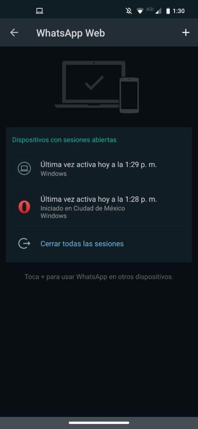 WhatsApp Web sesiones activas