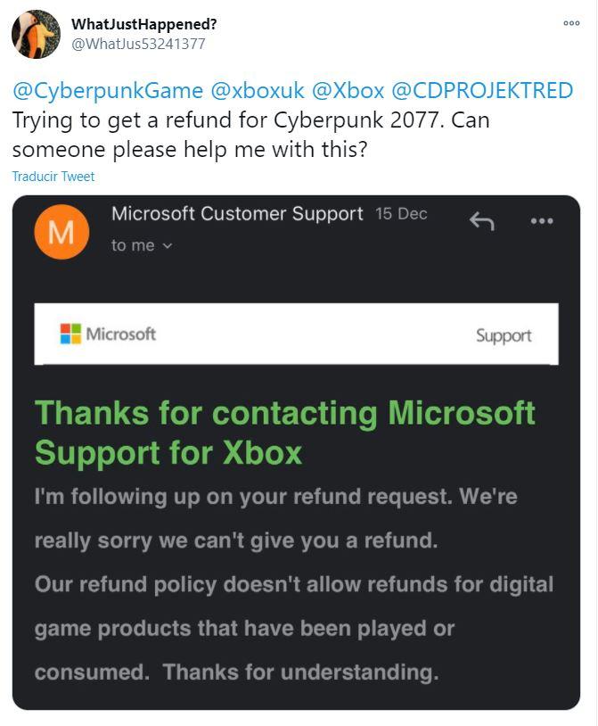 Respuestas de Xbox y PlayStation sobre reembolsos de Cyberpunk 2077