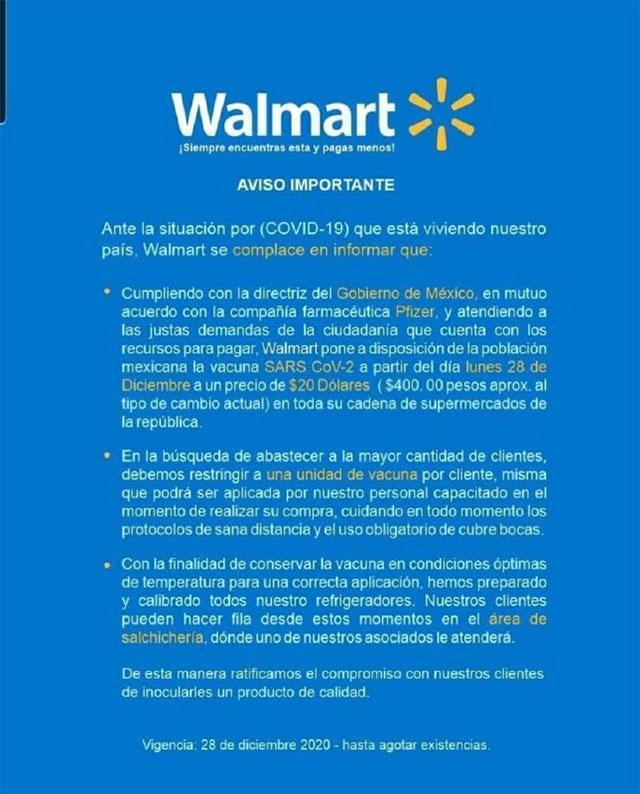 Walmart venderá la vacuna Pfizer es falso