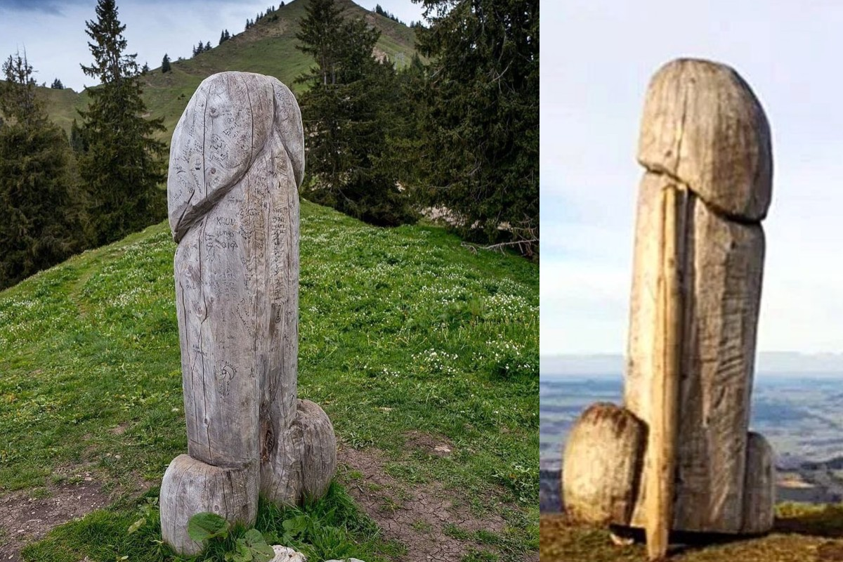 Una enorme escultura fálica desaparece de una montaña alemana