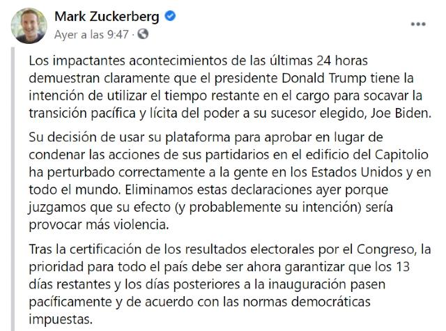 AMLO critica la postura de Mark Zuckerberg con Trump