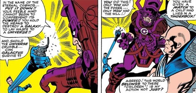 Reed Richards enfrentando a Galactus con el Nulificador Supremo