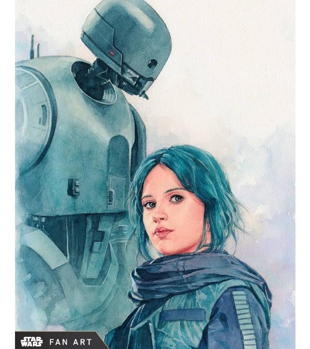 Star Wars: Fan Art crea una impresionante toma de Jyn Erso y K-2SO