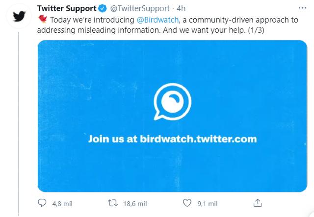 Twitter lanza la nueva herramienta Birdwatch