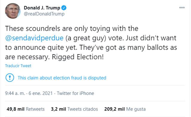 Twitter bloqueó la cuenta de Donald Trump tras los disturbios en Washington