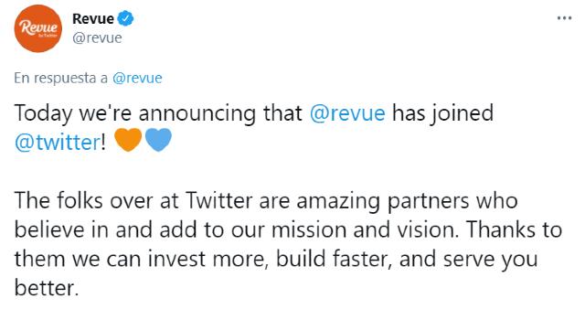 Twitter anuncia la compra de la plataforma Revue
