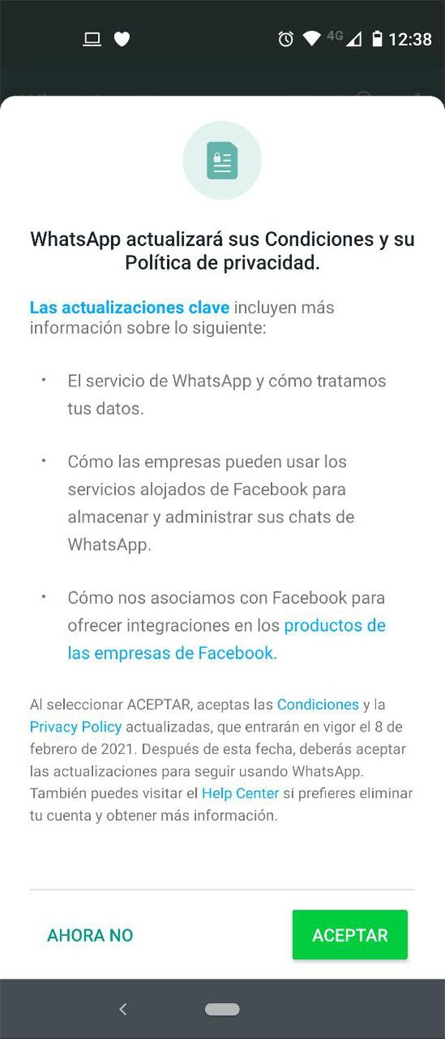 Nuevos términos y condiciones de WhatsApp
