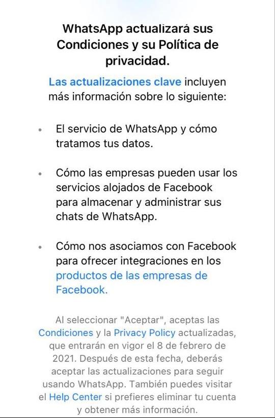 WhatsApp actualiza sus políticas y condiciones
