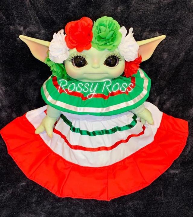 Baby Yoda con traje mexicano