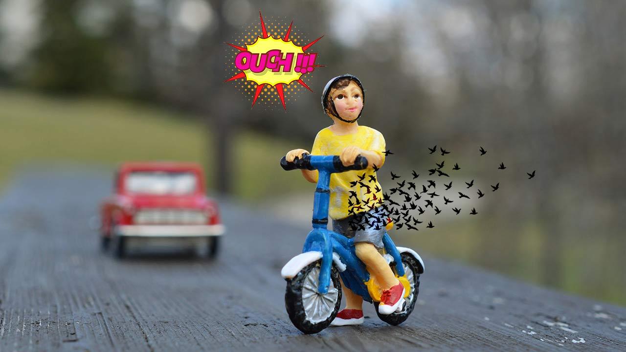 Accidente en Bici Pene lesión