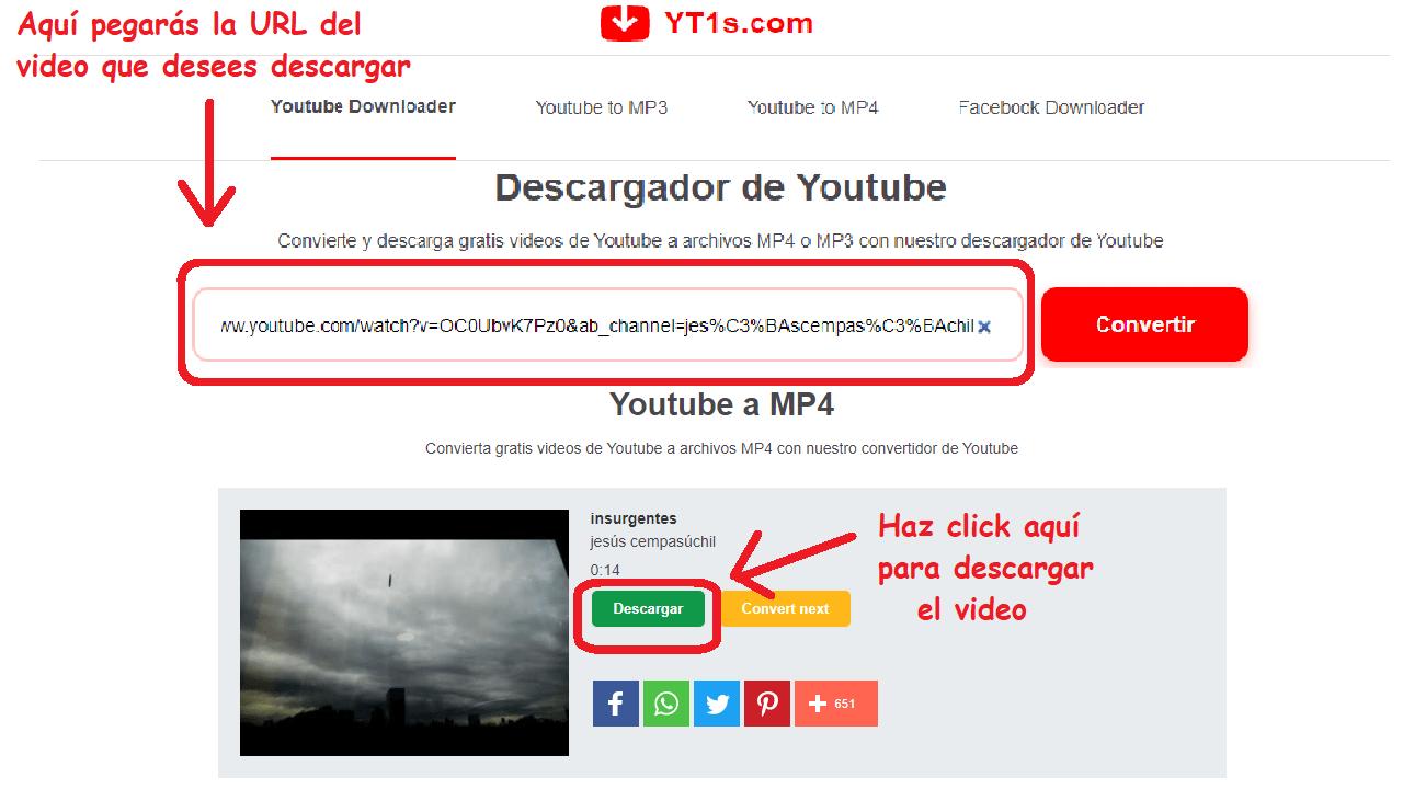 yt1s youtube descargar videos instructivo