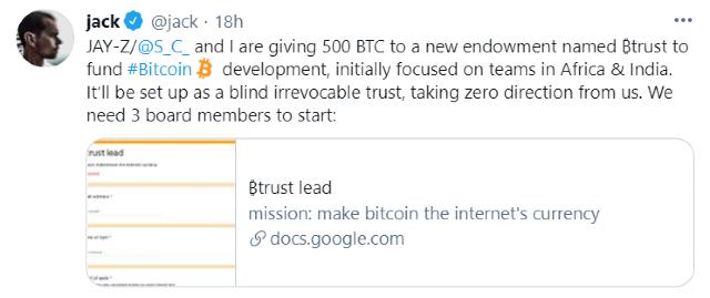 Jack Dorsey creó un fondo de Bitcoin para África