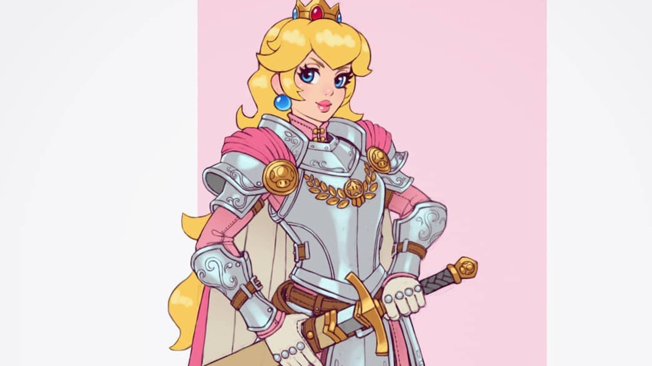 Mario Bros_ Chica recrea en cosplay un asombroso fan art de la princesa Peach portando una flameante armadura (2)
