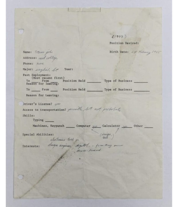 Subastarán una solicitud de empleo Steve Jobs escrita a mano de 1973