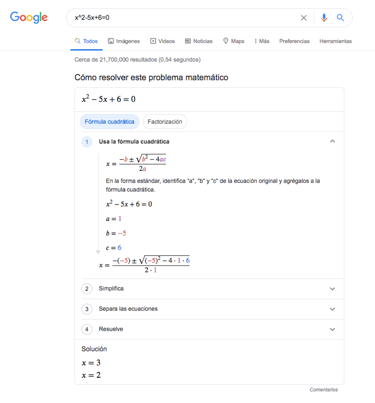 como resolver ecuaciones dentro del buscador de google