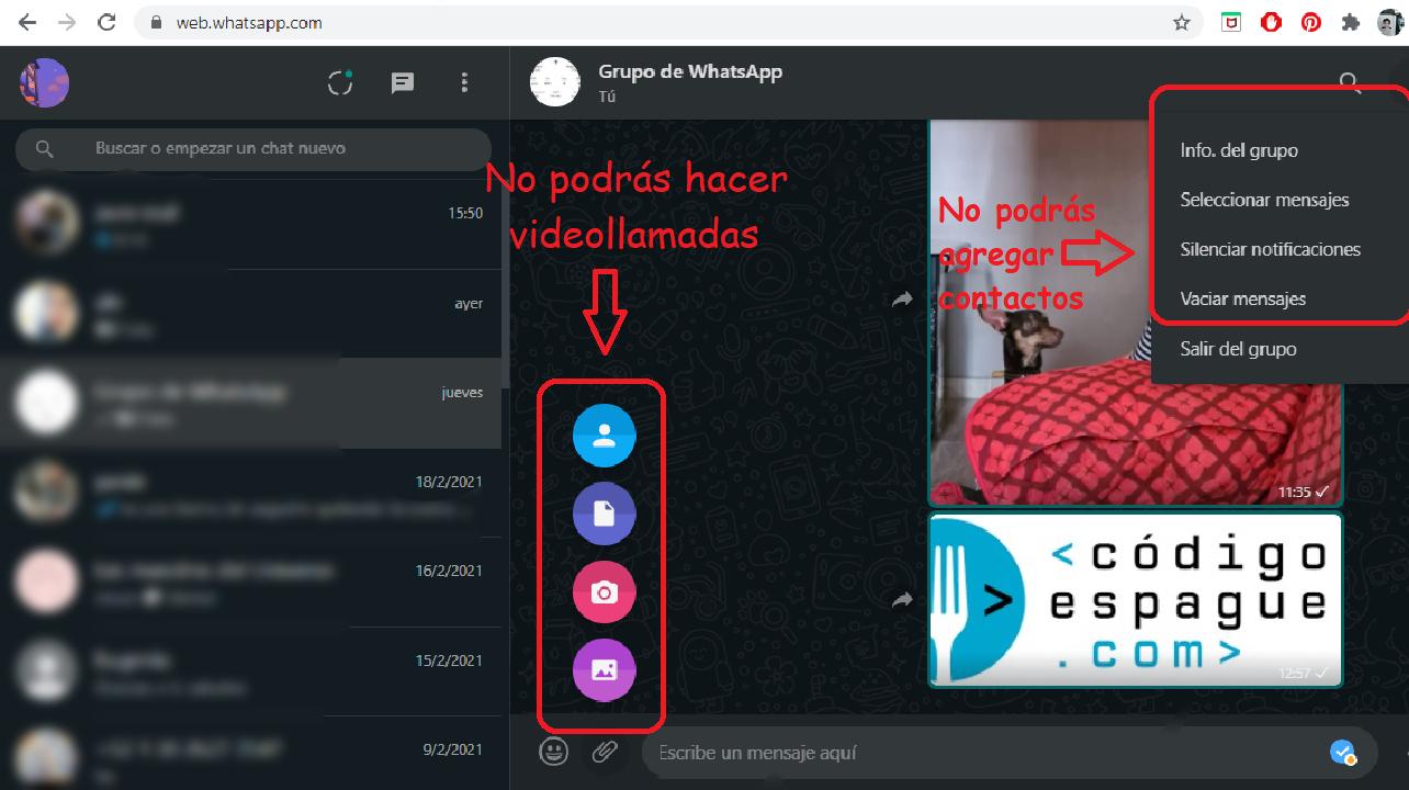 whatsapp web app diferencia whatsapp móvil