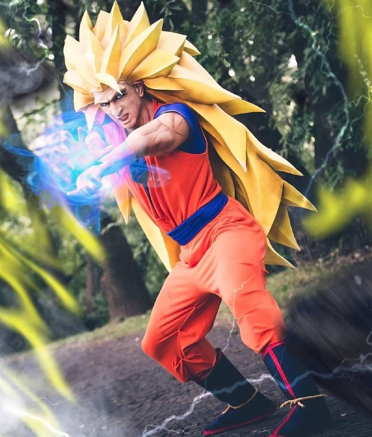 Cosplay Dragon Ball Super Saiyajin 3 Goku Anime