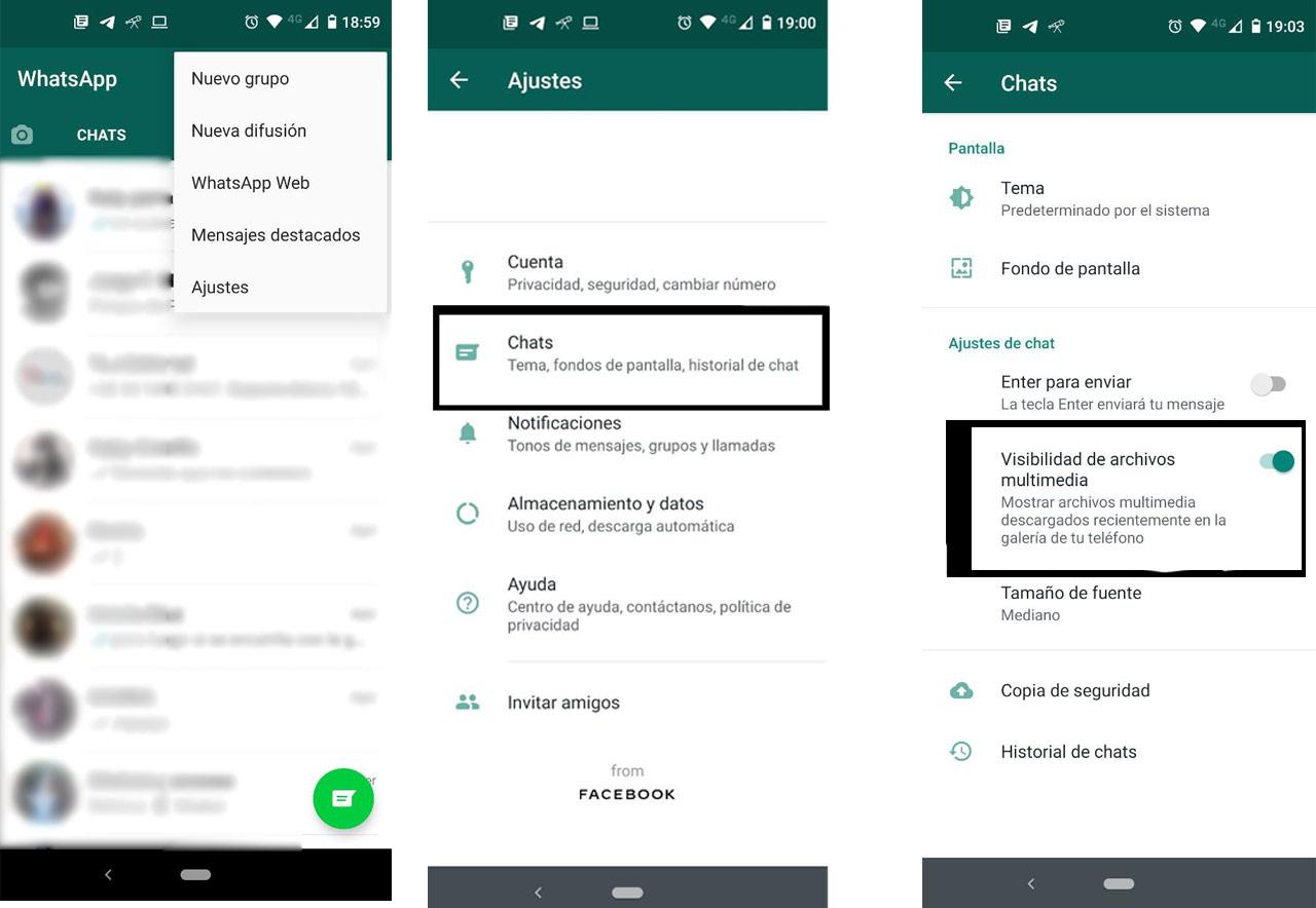WhatsApp Ocurtar Imagenes Galeria Android
