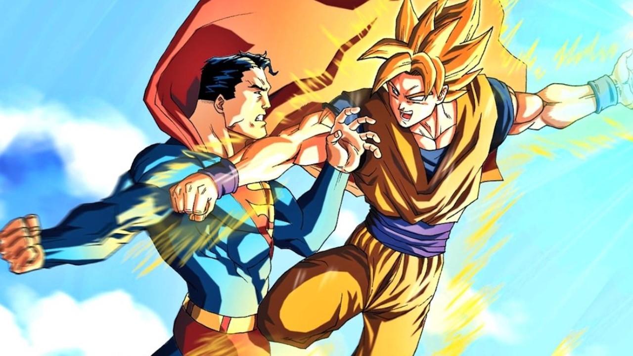 goku contra superman pelea ilustracion