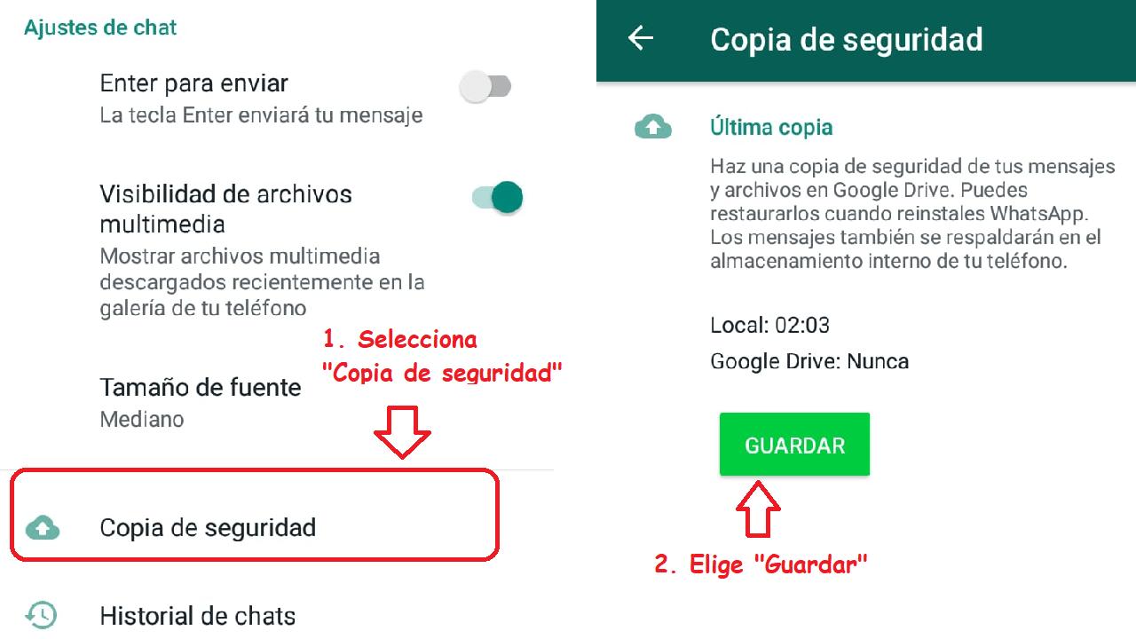 whatsapp androide exportar chat explicación