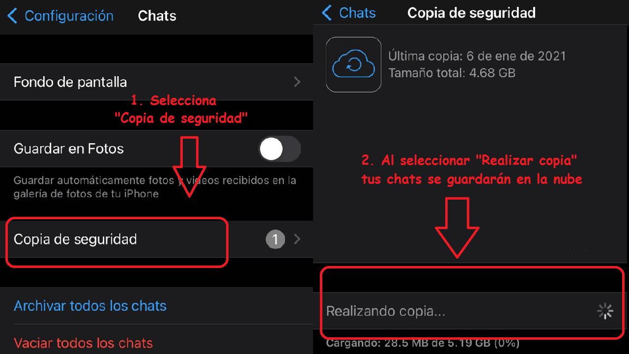 whatsapp ios android exportar chats
