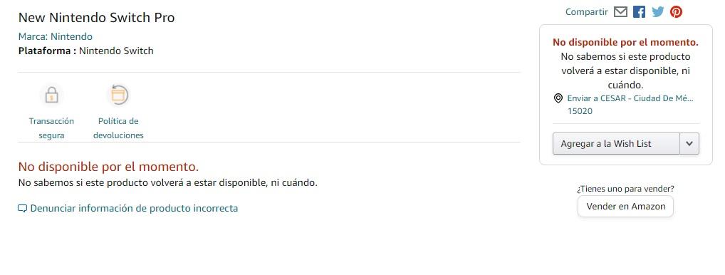 nintendo switch pro amazon mexico filtracion