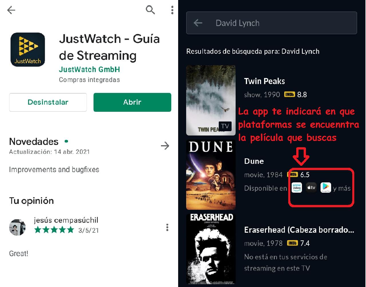justwatch aplicación play store