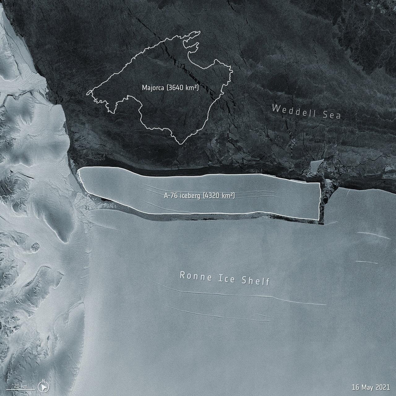 Iceberg A-76 Antártida Fotografía Satelital