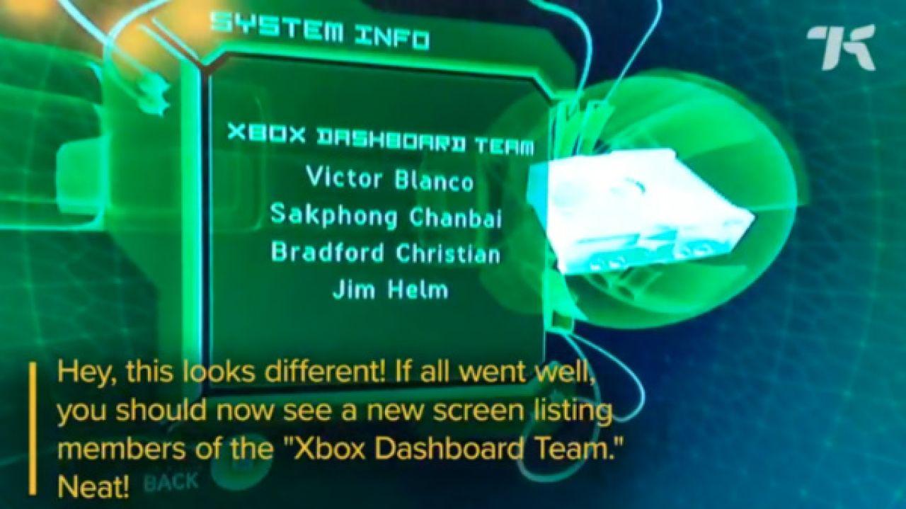 Xbox Dashboard Team easter egg
