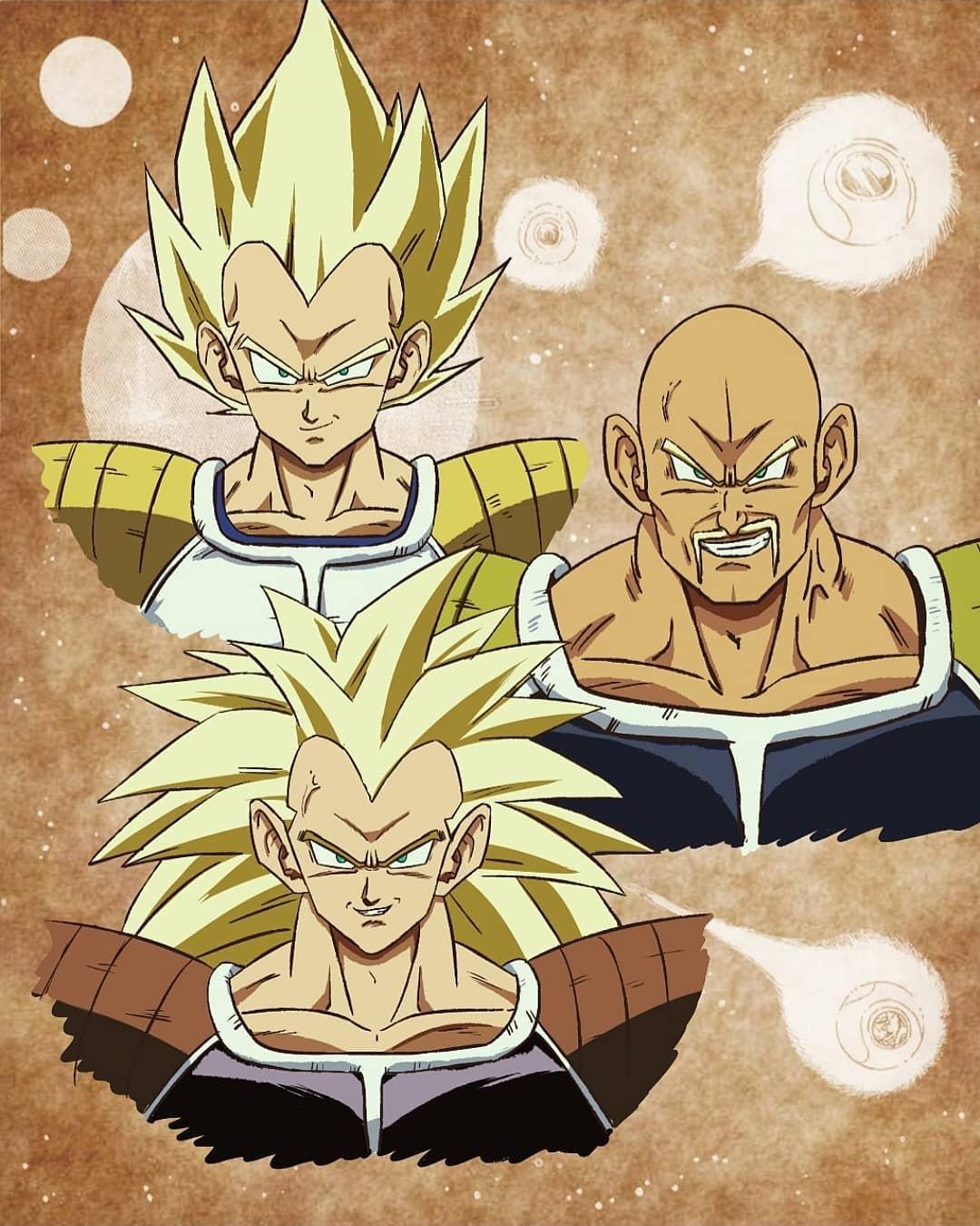 Nappa y Raditz, los primeros sayajin, en su versión de cabello dorado